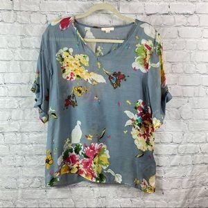 Tulle Floral V Neck Sheer Short Sleeve Blouse Top